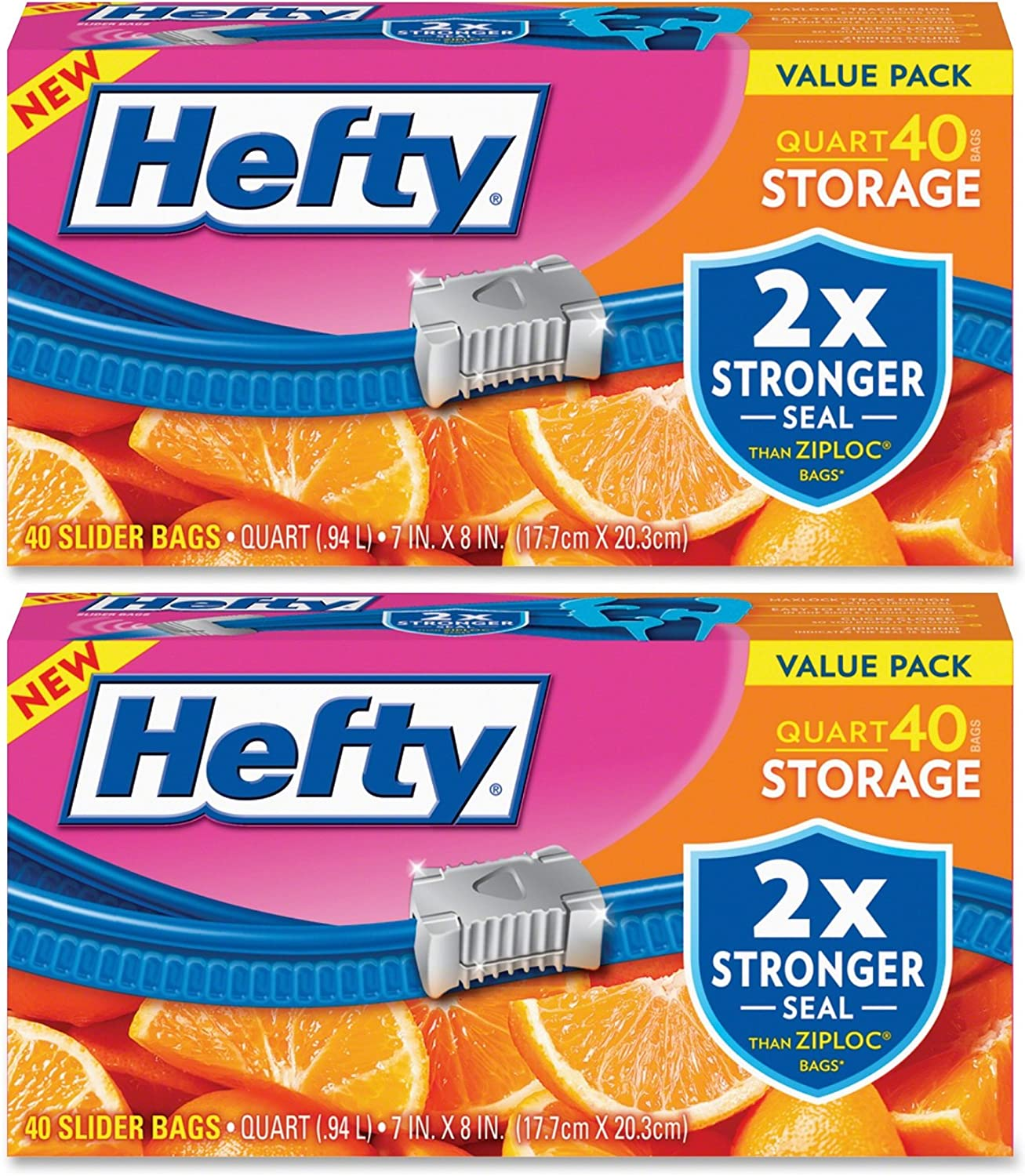 Hefty Slider Storage Bags, Quart, 40 Count (Pack of 2)