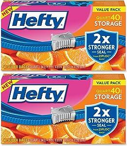 Hefty Slider Storage Bags, Quart, 40 Count (Pack of 2)