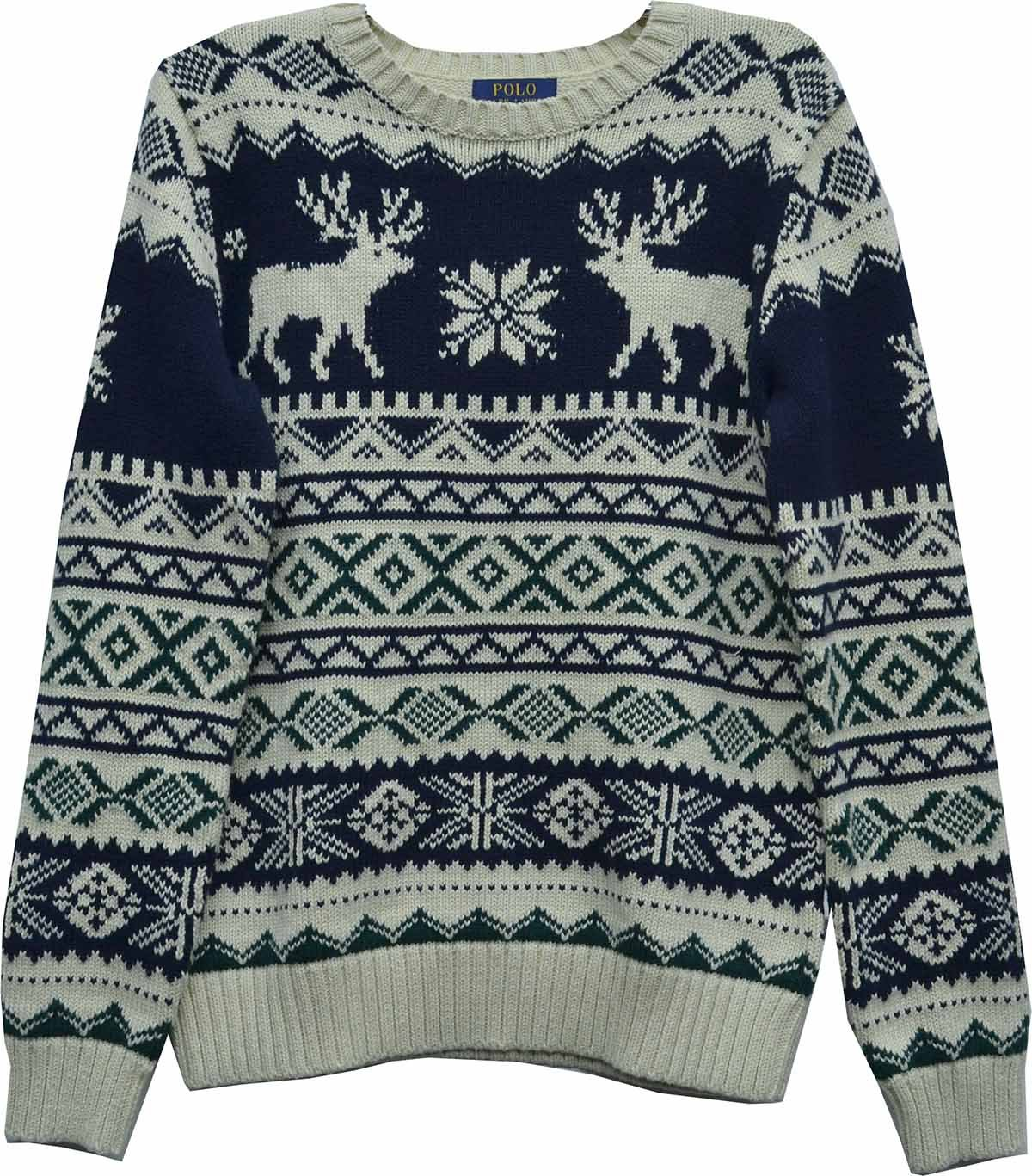 Polo Ralph Lauren Boy's Holiday Sweater Cafeaulait X-Large (18-20)