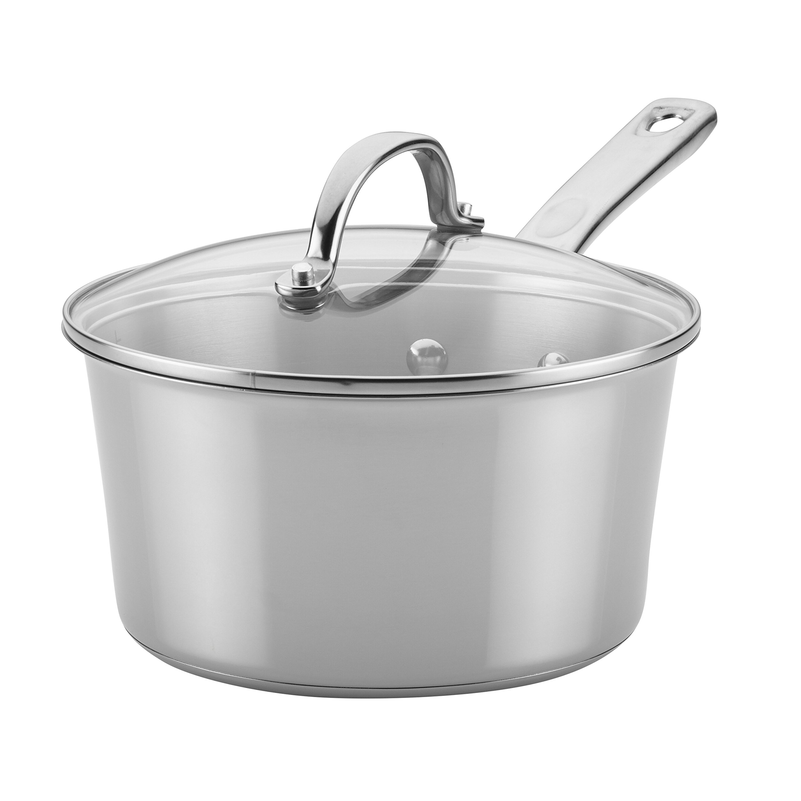 Ayesha Curry Home Collection Stainless Steel Covered Saucepan, 3 Quart