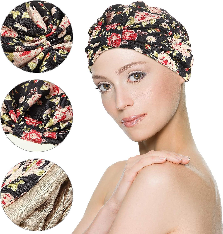 2 Pieces Women Turban Cotton Cap Floral Print Beanie Knot Bonnet Headwrap Satin Lined Sleep Hat