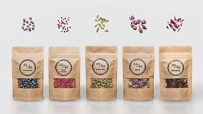 Kit De Gin Botánicos - 5 Gin Tónic Especias Naturales (78g) - Perfecto Como Regalo Y En El Cóctel: Amazon.es: Alimentación y bebidas