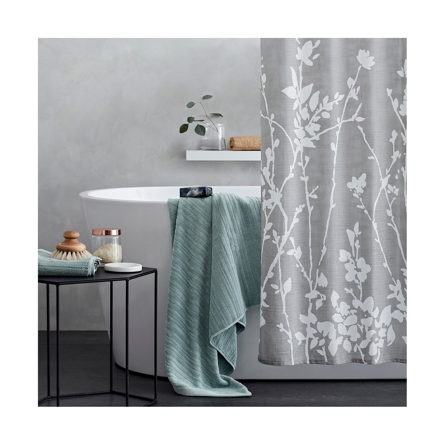 Project 62 Floral Print Shower Curtain Light Grey/White 72''x 72'' 100% Cotton