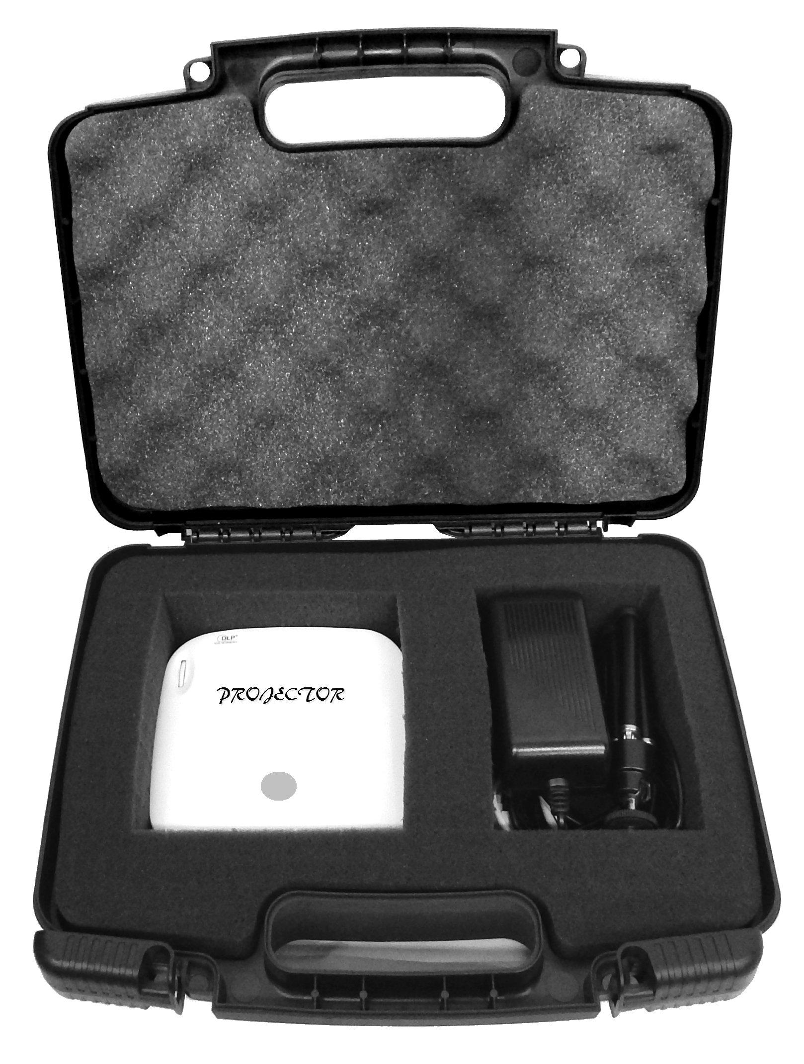 TRAVEL Portable Pico Projector Case with Protective Foam fits Crenova XPE700 / iCODIS CB-300 / Ezapor GM60 / Mileagea Pico DLP / LG Minibeam PH550 and Small Accessories by CASEMATIX