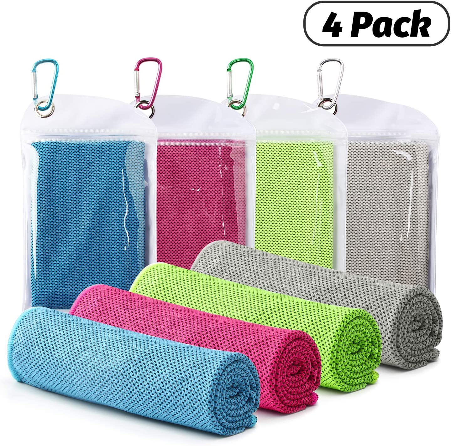 "Famiry 4 Packs Cooling Towel (40""x 12""), Ice Towel, Soft Breathable Chilly Towel, Microfiber Towel for Yoga, Sport, Running, Gym, Workout,Camping, Fitness, Workout & More Activities"