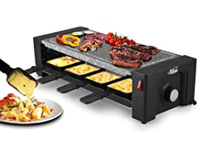Artestia Electric Raclette Grill with High Density Granite Grill Stone,1450W High Power ETL Certified,Two-Tier Separate Heat Source for Plate/Side Dishes (Grill Stone Raclette in Dark Base)