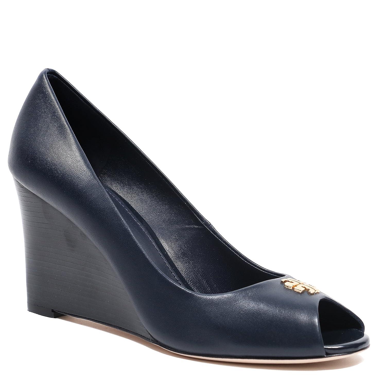 3bd9f3510c70 Tory Burch Black Jolie 85mm Peep Toe Nappa Leather Wedges Navy (7.5)   Amazon.co.uk  Shoes   Bags