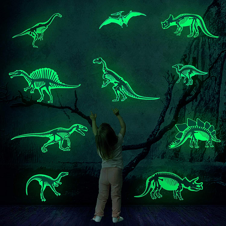 Lamdgbway Glow in The Dark Luminous Dinosaur Stickers Wall Decor for Kids Girls Boys Bedroom Ceiling or Wall Party Birthday Gift Dinosaur Skeleton