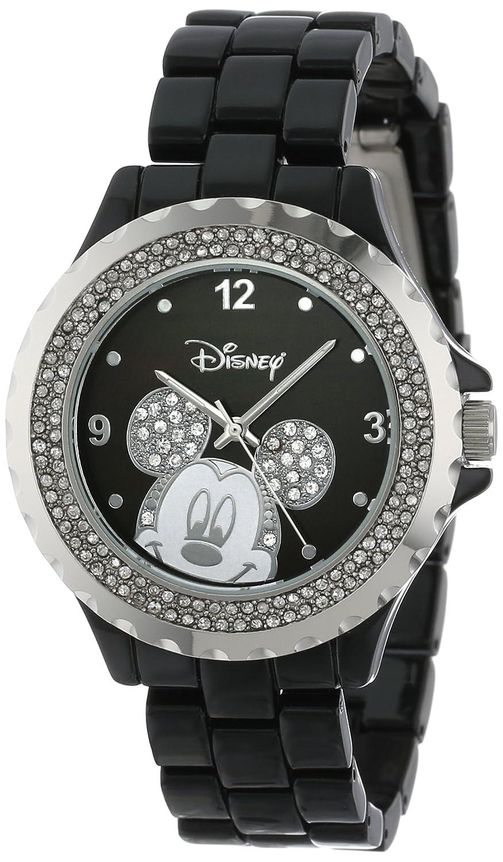 Disney Women s 56270-1B Mickey Mouse Rhinestone-Accented Black-Enamel Sparkle Watch