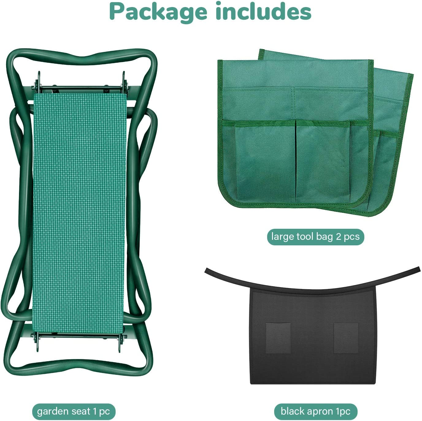 Fishing Green Camping 2 Big Tool Pouch iPower Portable Kneeler Seat Foldable Kneeling Bench with Sturdy Soft EVA Foam Pad for Outdoor Gardening and 1 Black Apron Included