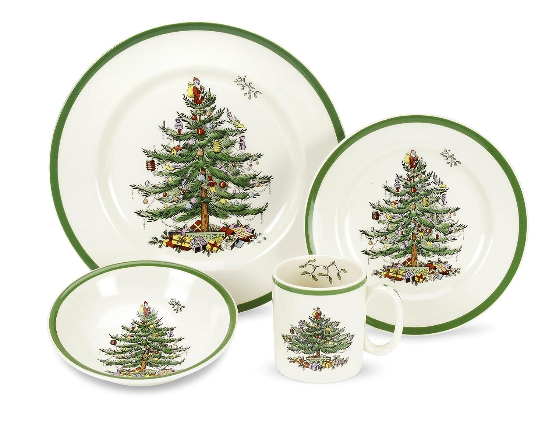 Amazon.com: Spode Christmas Tree 4-Piece Dinnerware Place Setting ...