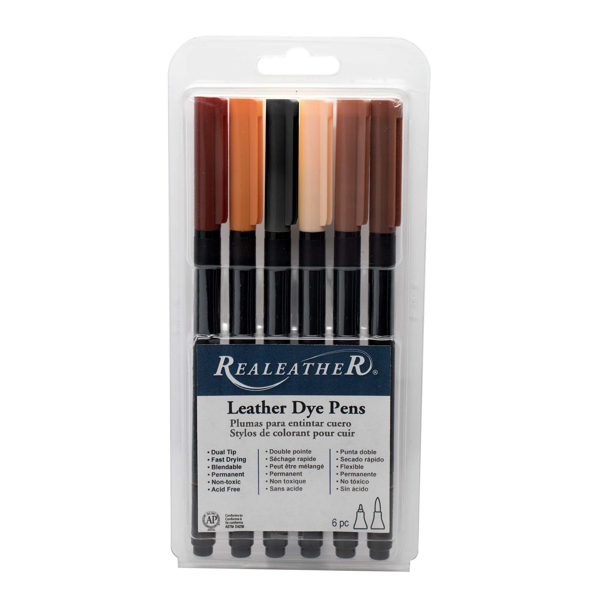 Realeather F2400-01 Dual Tip Leather Dye Marker Pens (6 Pack), Earth Tones by Realeather