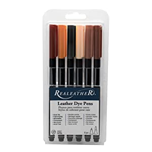 Realeather F2400-01 Dual Tip Leather Dye Marker Pens (6 Pack), Earth Tones