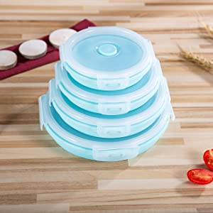 Bezal - Collapsible Food Storage Containers (Set of 4) With Lids 1200ml/800ml/500ml/350ml - Silicone Leak-Proof Airtight Microwave & Dishwasher-Safe Meal Container Thin Lunch Bento Box Bowls