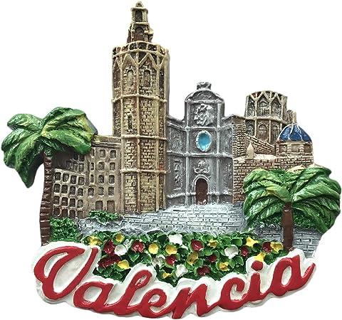 3D Valencia España Imán de nevera de viaje, pegatina de recuerdo de España, hecho a mano, decoración de hogar y cocina, imán para nevera: Amazon.es: Hogar