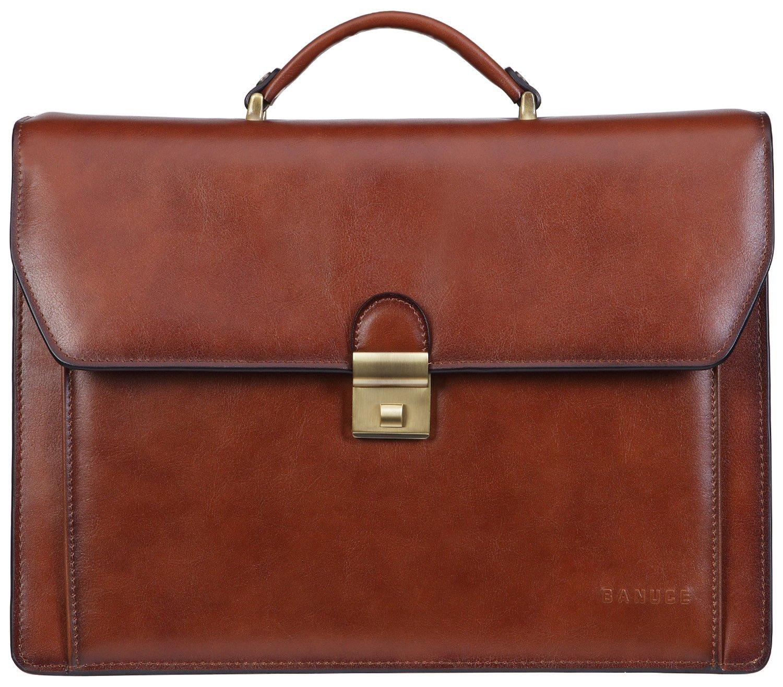 Banuce Men's Leather Professional Briefcase Shoulder Attache Case Laptop Bag