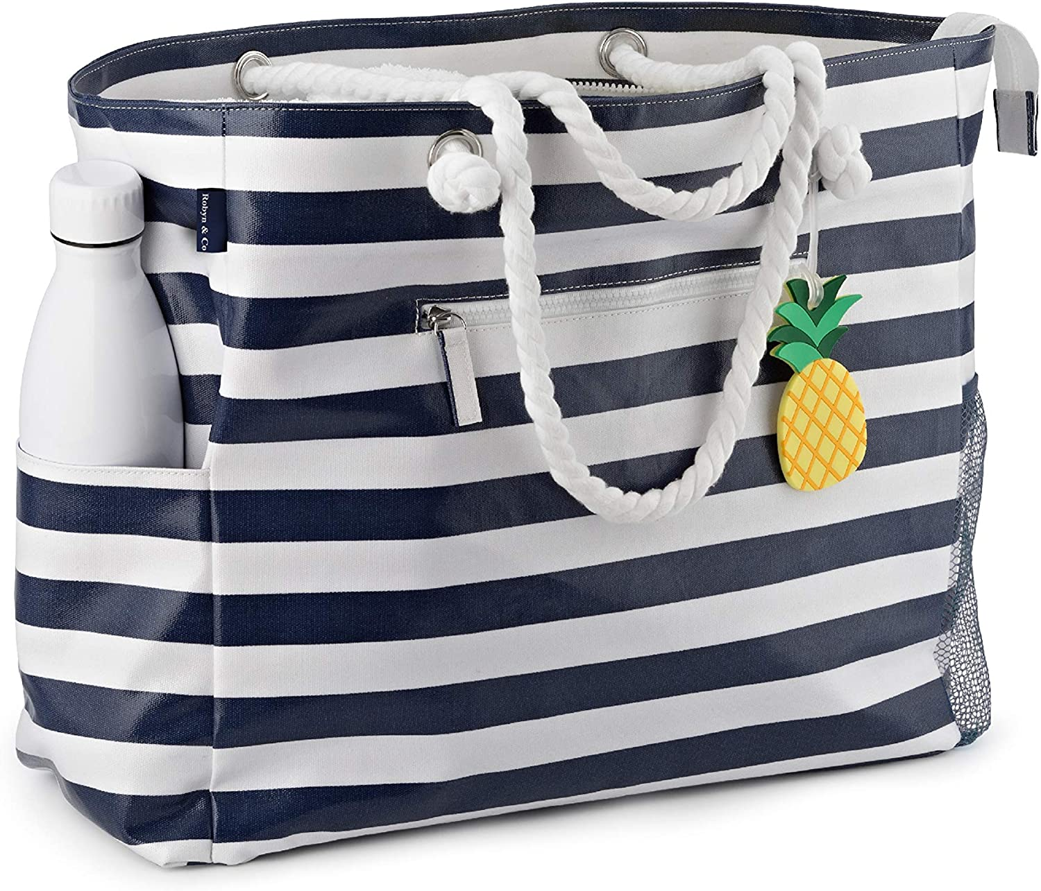 Large Beach Bag-Waterproof Canvas Beach Tote with Top Zipper-6 pockets-Navy Blue-by Robyn Co