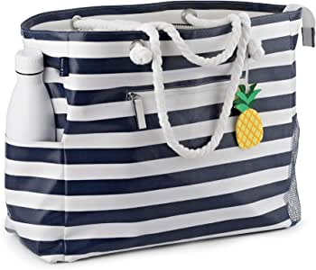 Large Beach Bag-Waterproof Canvas Beach Tote with Top Zipper-6 Pockets-Navy Blue-by Robyn&Co
