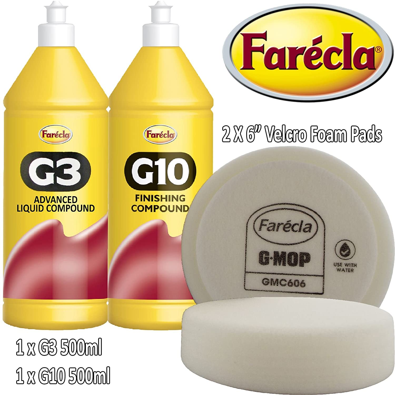 Farecla G3 + G10 Kit G3 Advanced Liquid Compound & G10 Finishing Compound Both 500ml 0.5l 0.5ltr 0.5 Litre500ml 0.5l ltr Litre Bottles Car Abrasive to remove light Scratches/Swirls older paint work New + Farecla 2 x GMC606 6' GMop Wet Use Foams