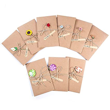 Zwoos 9pcs Handmade Dried Flowers Greeting Cards With