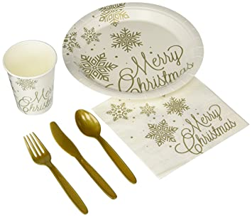 Disposable Dinnerware Set - Serves 24 - Merry Christmas and Golden Snowflakes Party Supplies - Includes  sc 1 st  Amazon.com & Amazon.com: Disposable Dinnerware Set - Serves 24 - Merry Christmas ...