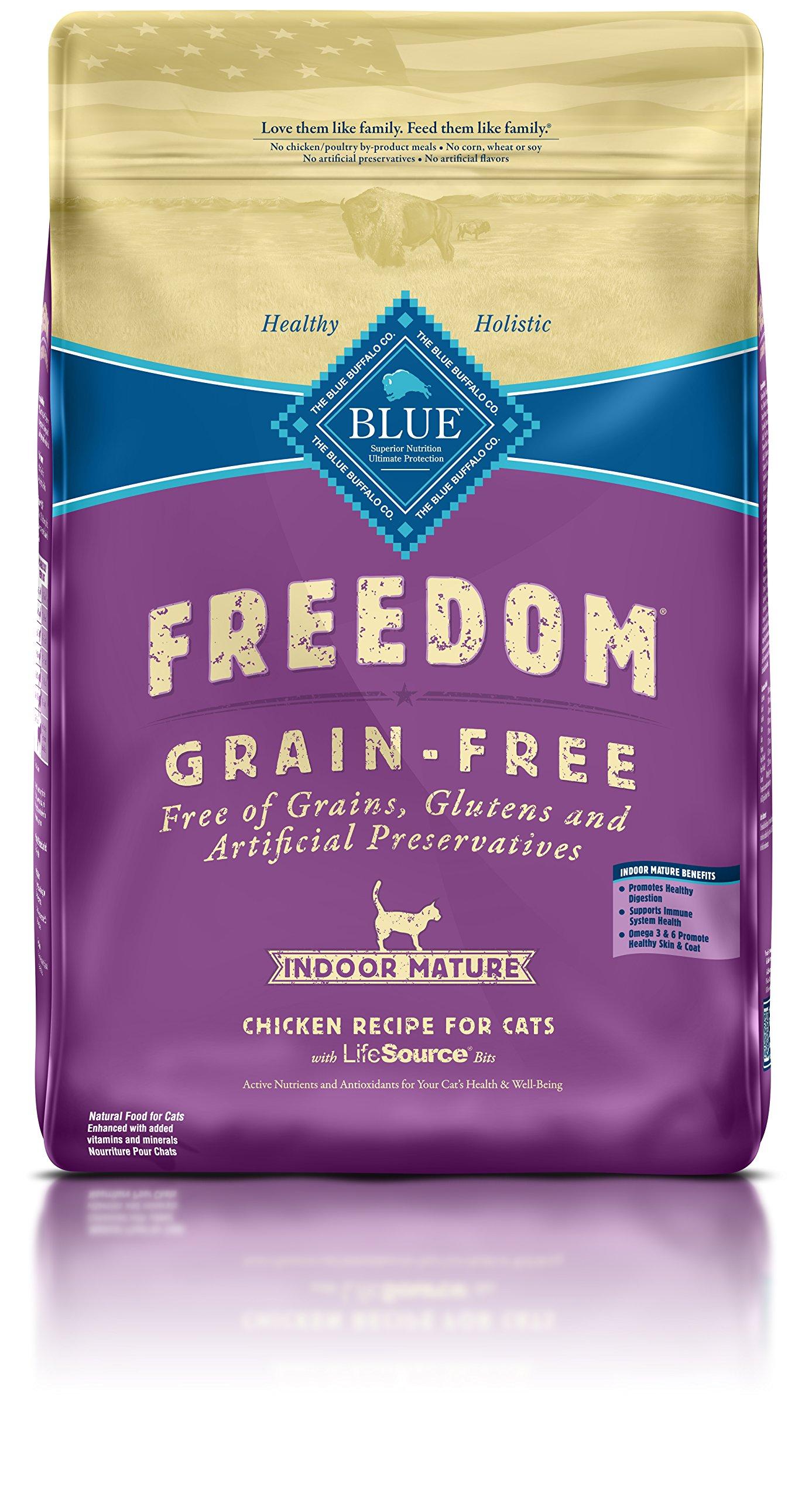 BLUE Freedom Mature Indoor Grain Free Chicken Dry Cat Food 11-lb.