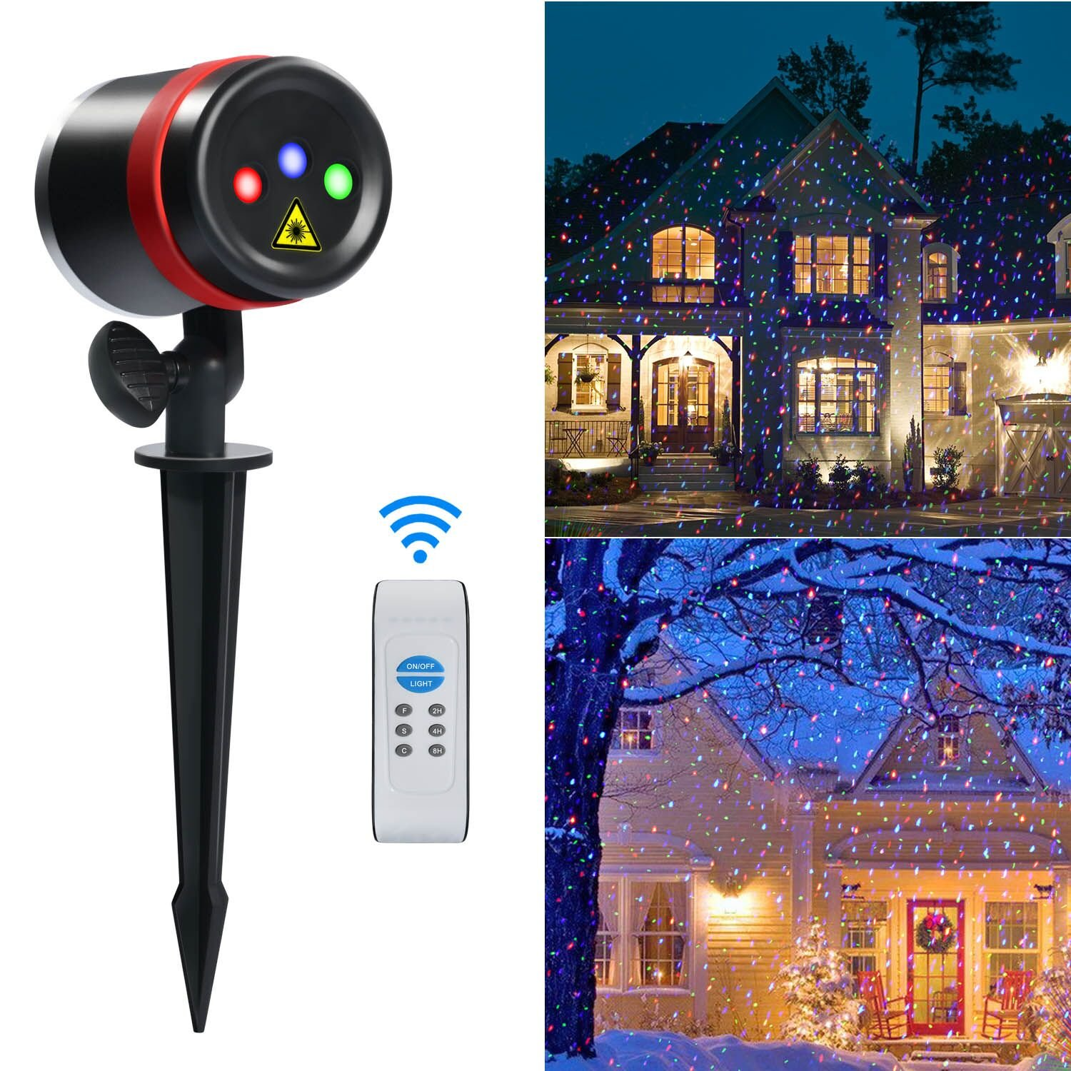 Laser Christmas Lights, ALPULON Red Green and Blue Star Projector,Waterproof Moving Star Laser with RF Wireless Remote and 8 Lighting Modes for Christmas, Holiday, Party, Garden Decoration.