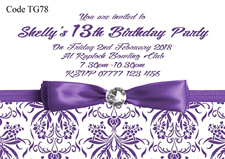 Personalised Teenage Girls Birthday Party Invitations Cards Any Age