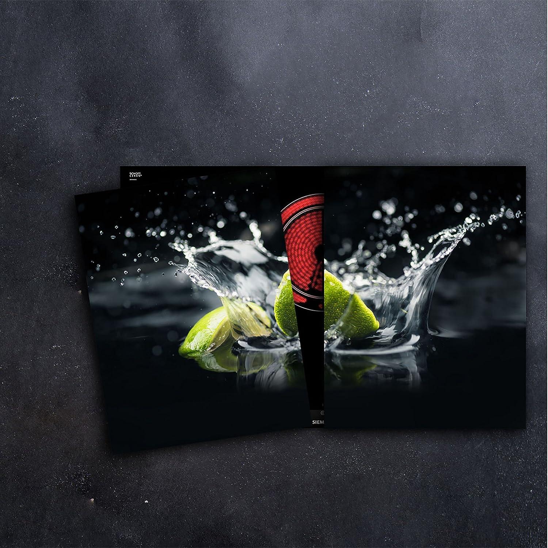 Herdabdeckplatten 2x 40 x 52 cm Ceranfeld Abdeckung 2teilig Glas Spritzschutz Abdeckplatte Glasplatte Herd Ceranfeldabdeckung Gr/ün Schwarz Obst CTC-Trade