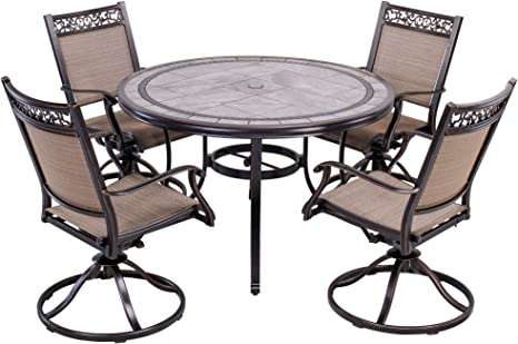 Dali Outdoor 5 Piece Dining Set Patio Furniture Aluminum Swivel Rocker Chair Sling Chair Set With 46 Inch Round Mosaic Tile Top Aluminum Table Amazon Co Uk Garden Outdoors