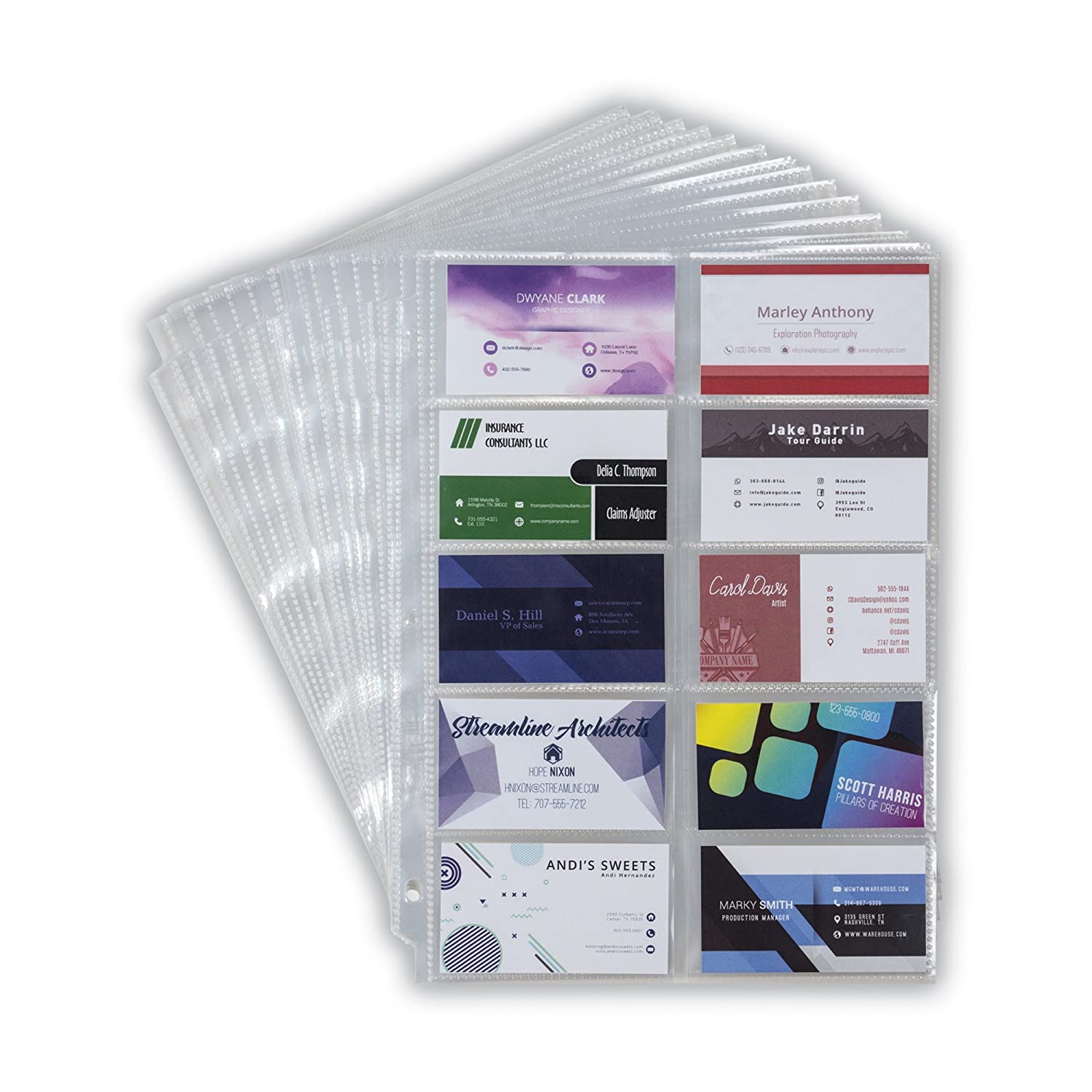Samsill 25 Heavyweight Business Card Sleeves, Double Sided to Hold 20-3.5 x 2 Inch Business Cards Per Page, Acid Free/Archival Safe, 25 Sheets Per Pack 81090