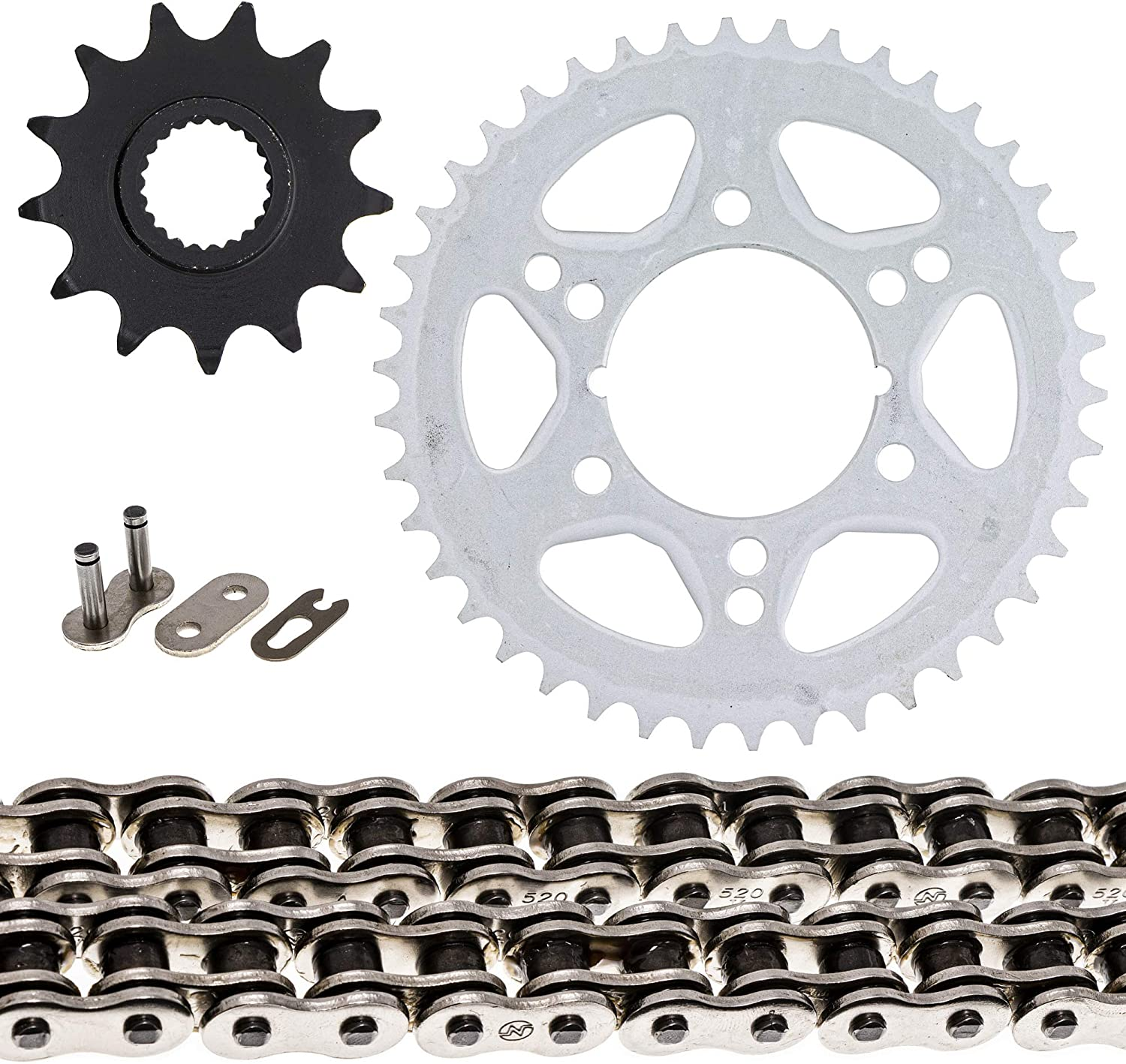 NICHE Drive Sprocket Chain Combo for Polaris Trail Boss 250 Scrambler 250 Front 13 Rear 42 Tooth 520V O-Ring 74 Links