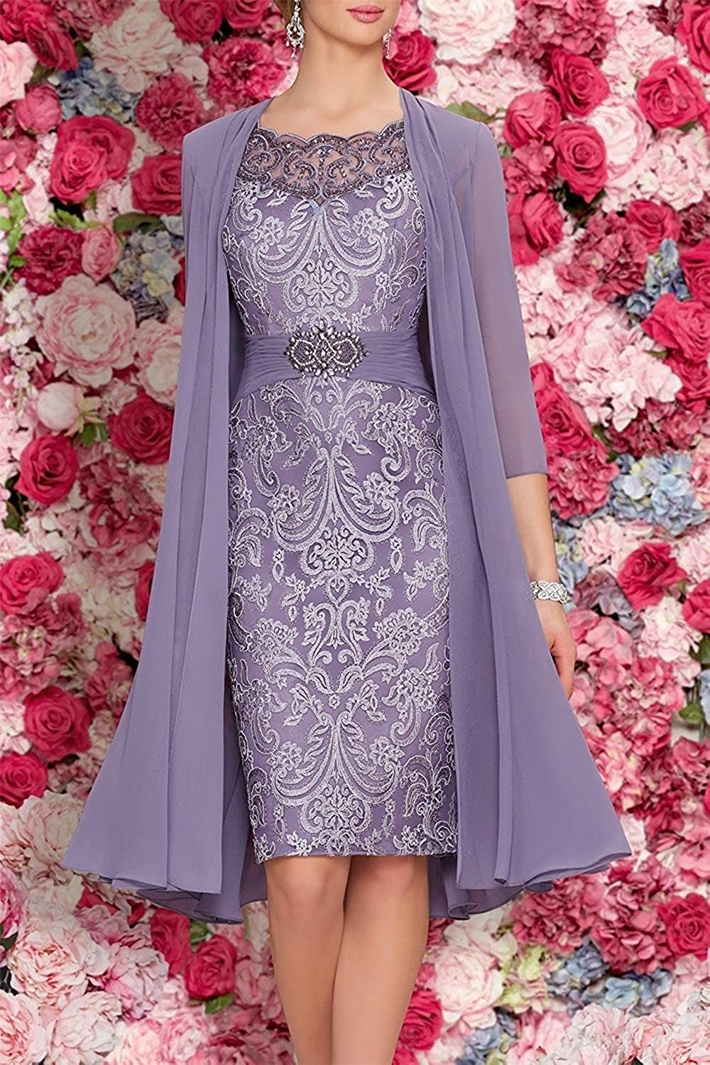 336647b0313 Banfvting Purple Mother of The Bride Dresses Tea Length Two Pieces With  Jacket at Amazon Women s Clothing store