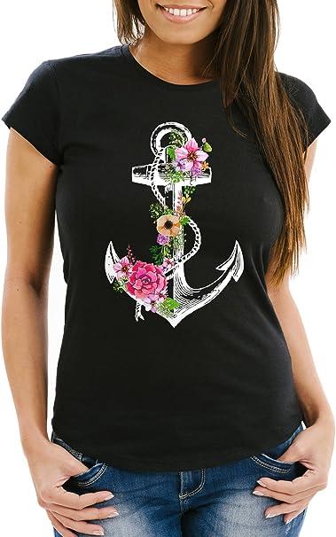 Damen T-Shirt Anker Blumen Watercolor Slim Fit Neverless®