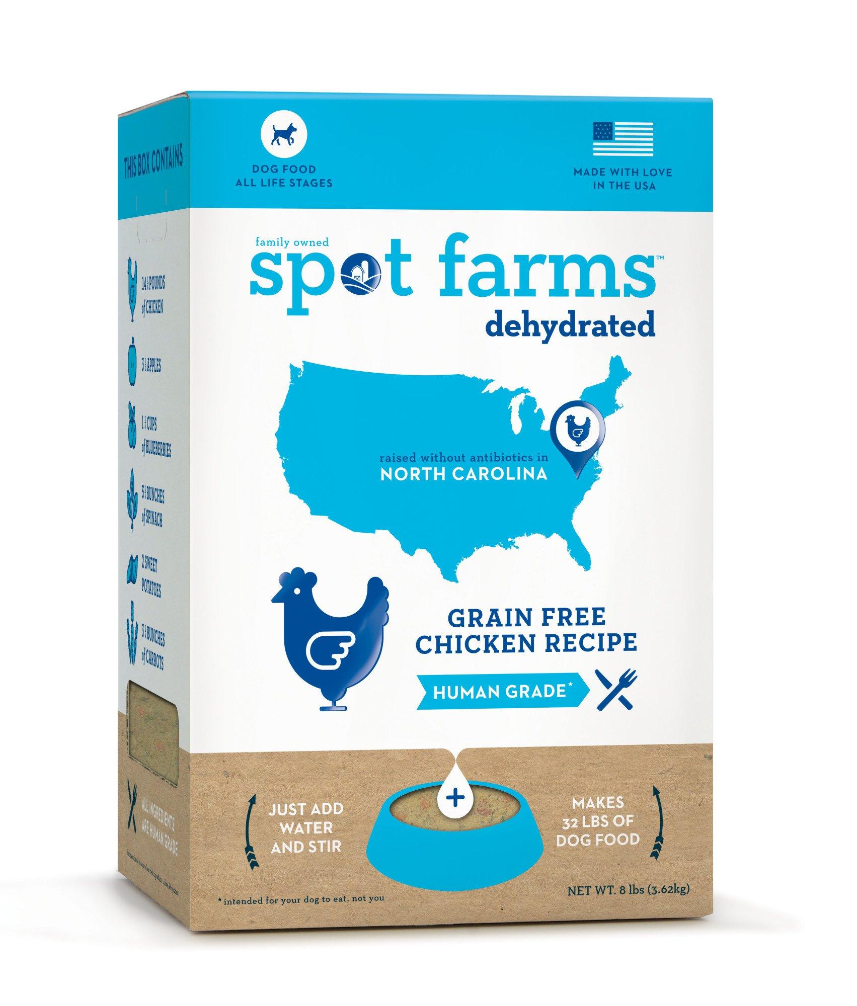 Spot Farms Grain Free Chicken Dog Food, Natural Human Grade Dehydrated Dog Food, 8.0lb (Makes 32lbs)