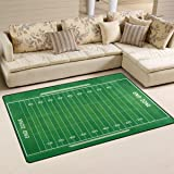 WOZO Green American Football Field Striped Area Rug Rugs Non Slip Floor Mat  Doormats For