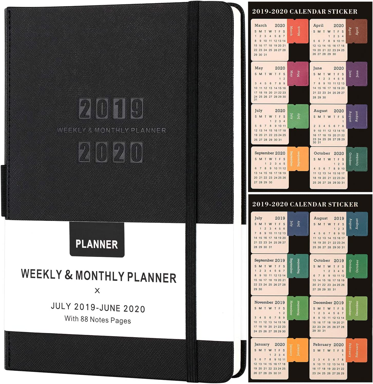 "Planner 2019-2020 - Academic Weekly/Monthly Planner, Saffiano Leather with Pen Holder with Thick Paper, Back Pocket with 88 Notes Pages | Special Box - 5.75"" x 8.25"""
