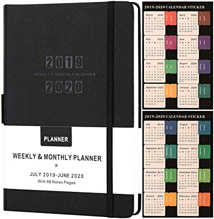 Planner 2019-2020 - Academic Weekly/Monthly Planner, Saffiano Leather with Pen Holder with Thick Paper, Back Pocket with 88 Notes Pages | Special Box ...