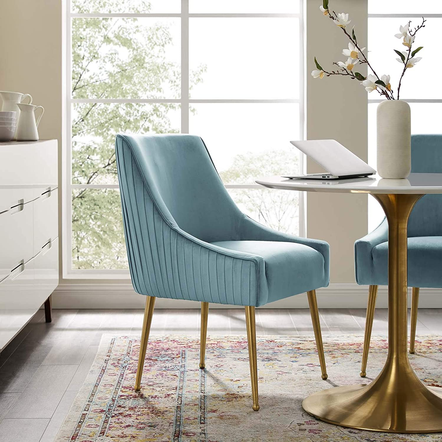 Amazon Com Modway Discern Pleated Back Upholstered Performance Velvet Dining Chair Light Blue Chairs