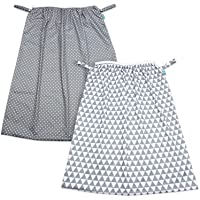 Teamoy (2 Pack) Reusable Pail Liner for Cloth Diaper/Dirty Diapers Wet Bag, Gray Triangle+Gray Dots