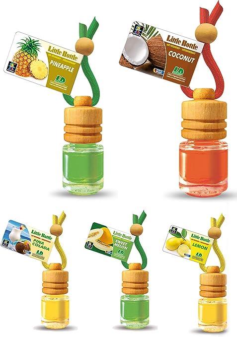 Ld 5 Stück Elegante Duftflakons Fürs Auto Autoduft Lufterfrischer Tropischer Früchte Mix Ananas Kokosnuss Pina Colada Lemon Sweet Melon Auto