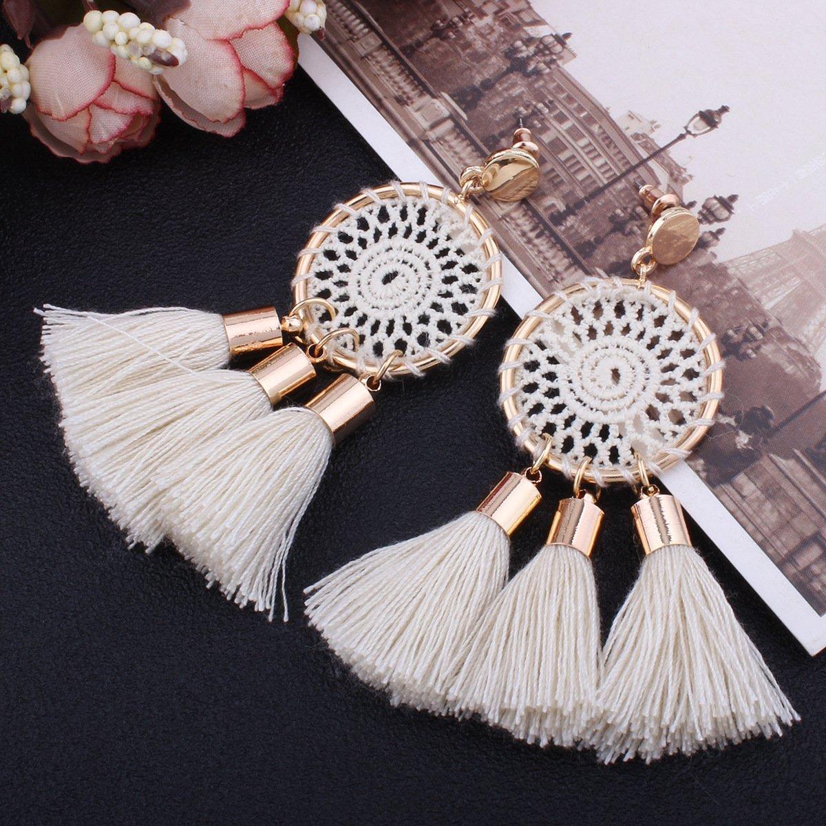 Tassel Earrings White Long Bohemian Geometric Dangle Earrings for Women by FEDNON (Image #2)