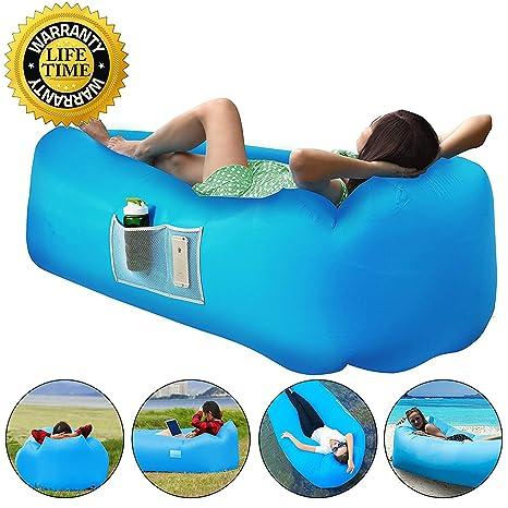 Sofa Hinchable con almohada integrada y bolsa Tumbona Sofá ...