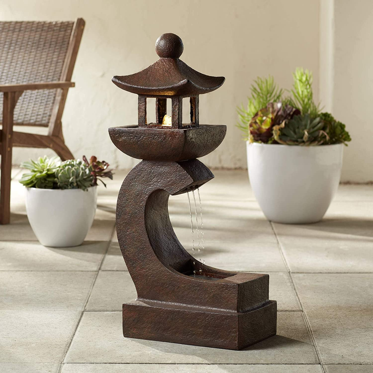 "John Timberland Garden Pagoda 31"" High Rust LED Lighted Outdoor Fountain"