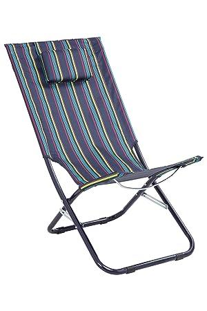 Mountain warehouse chaise longue chaise portable en acier durable coussin pour la tête