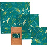 Bee's Wrap Assorted 3 Pack, Eco Friendly Reusable Food Wraps, Sustainable Plastic Free Food Storage - 1 Small, 1 Medium, 1 Large