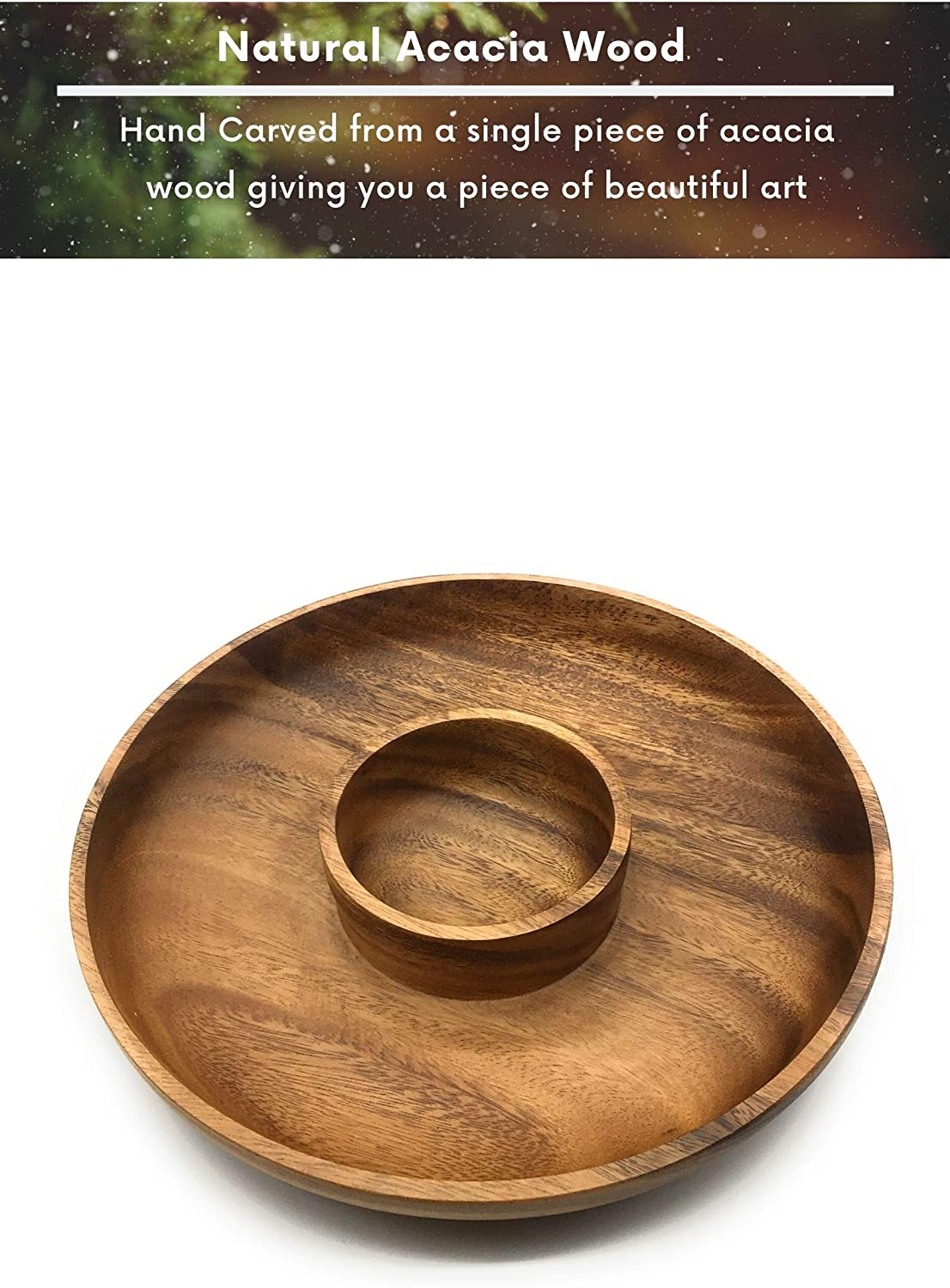 SDS HOME IMPORTS Acacia Wood Chip n Dip Bowl For Salsa and Chips Party Elegant Tray Round 9 WIDE 4 Dipping Hole