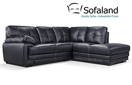 Hayley Right Hand Leather Corner Sofa - Black: Amazon.co.uk: Kitchen ...