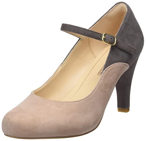 Clarks Dalia Lily, Zapatos con Tacon y Correa de Tobillo para Mujer, Beige (Nude Combi), 41.5 EU