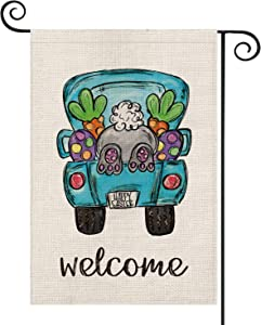 AVOIN Welcome Easter Truck Garden Flag Vertical Double Sized, Rabbit Carrot Yard Outdoor Decoration 12.5 x 18 Inch